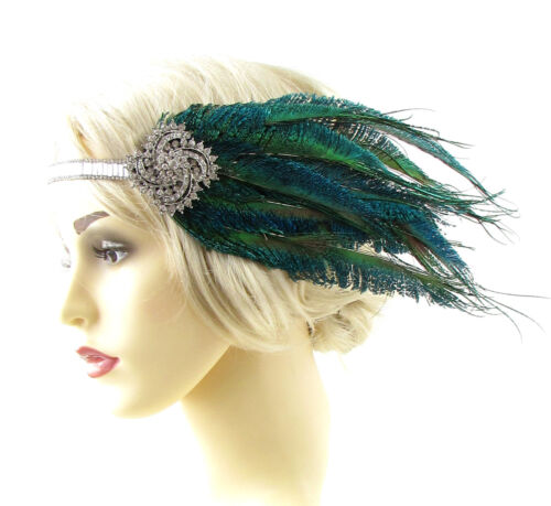 Silver Green Peacock Feather Headpiece 1920s Headband Flapper Great Gatsby 802