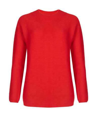 M & S BEST OF BRITISH PURE LADIES CASHMERE RIBBED RED JUMPER