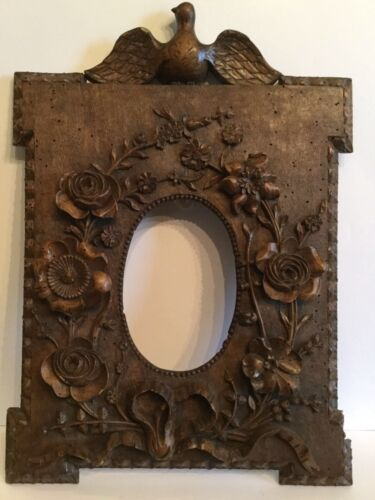 Antique French Black Forest Carved Picture Frame c1900 Birds Flowers Detailed