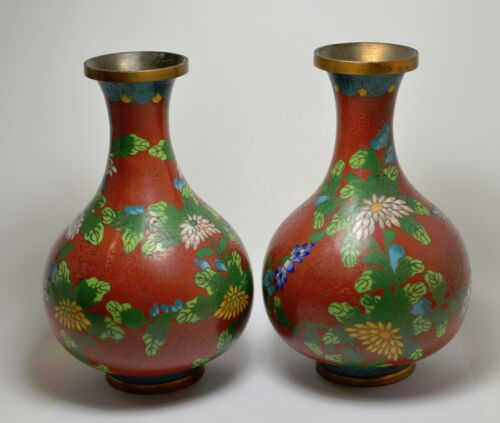 Antique Chinese Cloisonne Vases (2) ~ 6.5 '' Tall ~ Damaged ~