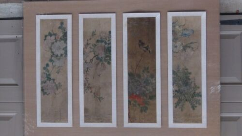 SET OF 4pc.ANTIQUE 16c-18c CHINESE SCROLL PAINTINGS IN PLEXIGLASS FRAME