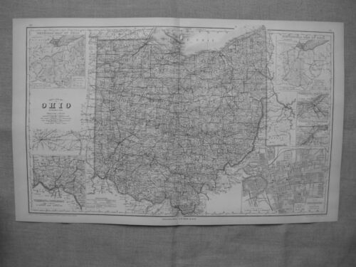 1877 OHIO RAIL MAP Brewster Bridgeport Brimfield Calcutta White Oak Wickliffe XL