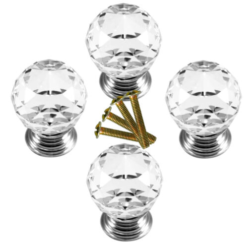 4pcs Crystal Glass Clear Cut Door Knobs Pull 30mm Cabinet Kitchen Handle Set