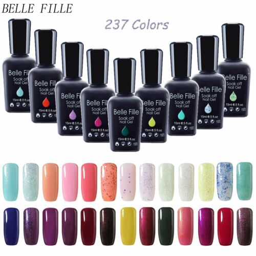 BELLE FILLE Nail Art Gel Color Polish Soak-off UV/LED Manicure DIY Varnish 15ml