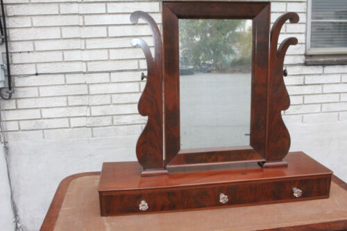 Antique Empire Mahogany Shaving Mirror & 3 Drawers For Dresser or Vanity, c 1840