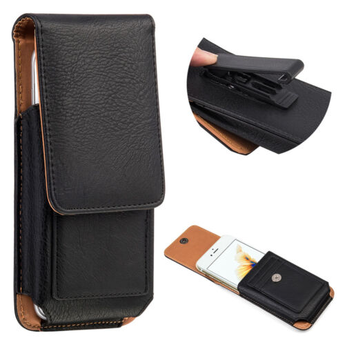 Leather Carrying Case for Apple iPhones - Premium Vertical Holster + Belt Clip