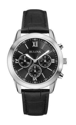 Bulova Men's 96A173 Quartz Chronograph Black Dial Leather Strap Watch