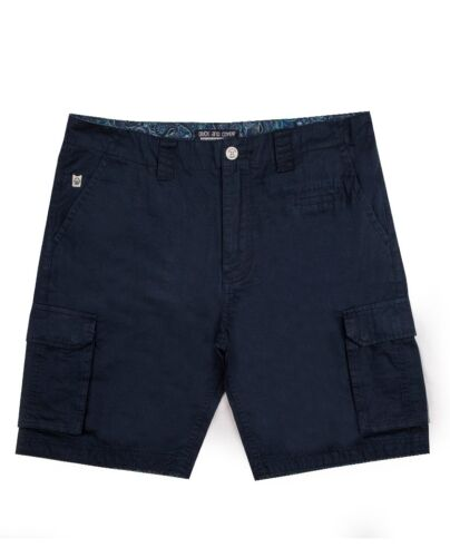 New Duck and Cover Cusack Deep Navy Summer Casual Shorts Designer Denim Jeans