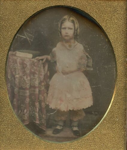 Girl with Sausages Curls Tablecloth, Daguerreotype Photo by Walsh, New York NY