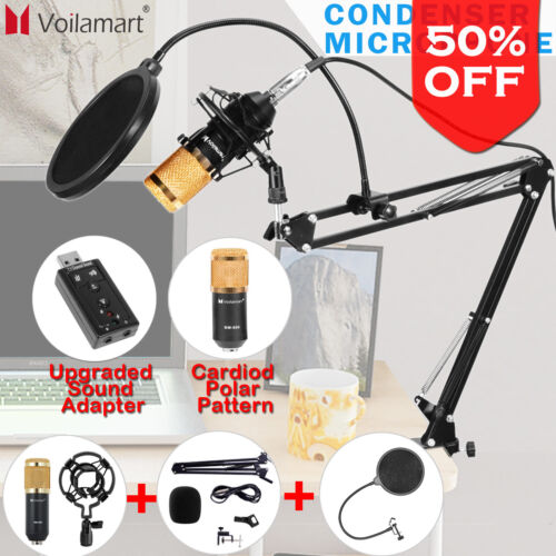 USB Condenser Microphone Kit Studio Audio Broadcast Sound Recording Tripod Stand <br/> ✔Buy 1, get 1 at 5% off✔Cardioid Polar Pattern