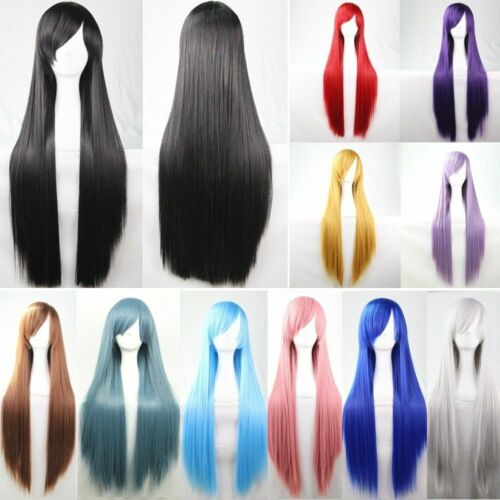 New 80cm Straight Sleek Long Full Hair Wigs w Side Bangs Cosplay Costume Womens
