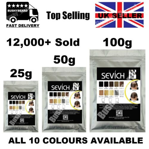 Sevich Refill Hair Fibers Keratin Building Thickening 25 50 100g Pack Fibre Loss <br/> CHEAPEST - ALL COLOURS - FAST DISPATCH FREE UK DELIVERY