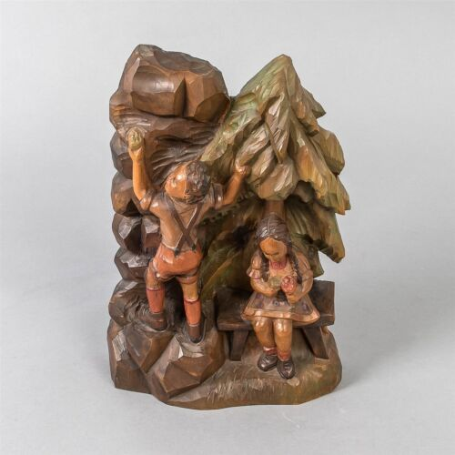 Antique Bavarian Wood Carving Children Climbing Mountain Hand Painted Kinder