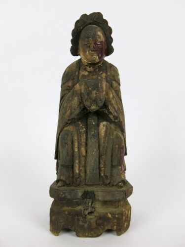 """Old Kwan Yin Guanyin Chinese Wood Carved Figurine Statuette Statue 8"""""""