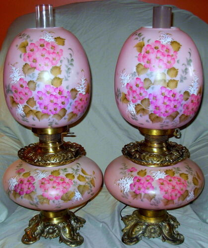 SPECTACULAR LARGE PAIR GWTW LAMPS HAND PAINTED HYDRANGEAS