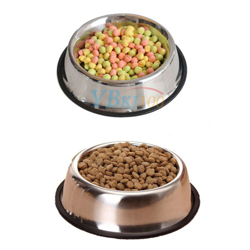 Stainless Steel Puppy Dog Feeder Feeding Food Water Dish Bowl fr Pet Dogs Cat LJ