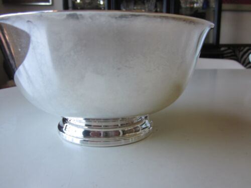 Mid-Century Modern Reed and Barton Silver Plate Bowl w/ Enamel Interior