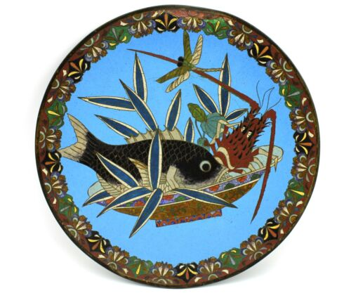 """Antique Chinese 12"""" Cloisonné Plate Fish Lobster Dragonfly Bowl Blue Clouds"""