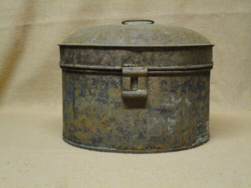 Vintage Round Spice Tin Can w/ Crusty Old Blue Paint & Contents