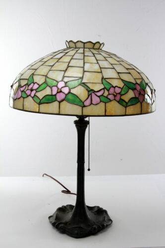Antique  Arts and Crafts Leaded Lamp Floral design shade  in excellent condition