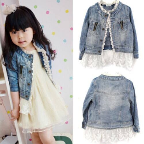 Girls Kids Jean Coat Jacket Outwear Denim Top Button Lace Button Outfits 0-6T