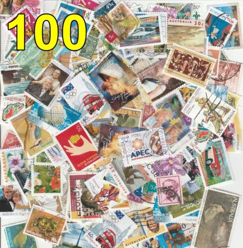100 Off Paper Used Mix Different Australian Stamps Recent Old Bulk Decimal Lot