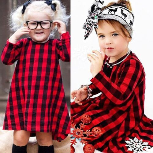 Toddler Baby Girls Plaid Dress Long Sleeve Princess Party Dresses Kids Clothes