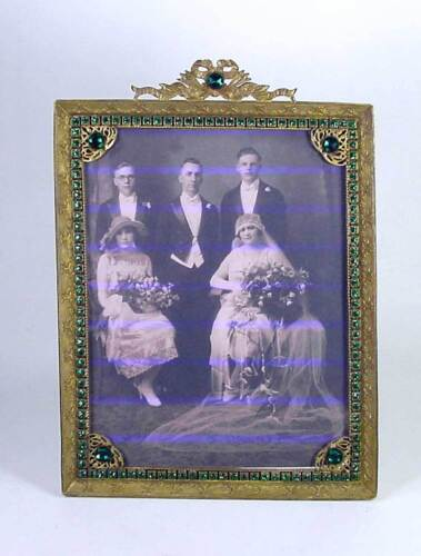 Antique Jeweled Rhinestone Brass Filigree Picture Photo Frame Ribbon Bow E & J B