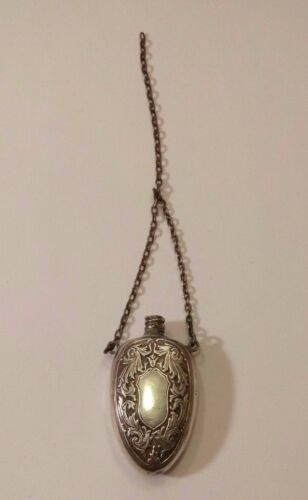 ANTIQUE STERLING SILVER CHATELINE SCENT PERFUME BOTTLE ON CHAIN.