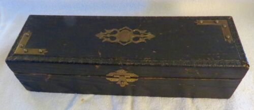 Antique Vintage Wooden Glove Box With Ornate Victorian Metal Decoration