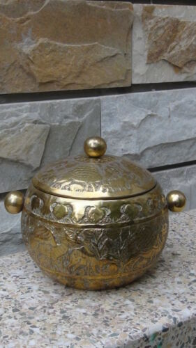 ANTIQUE EARLY 19C ISLAMIC MIDDLE EAST COPPER  INGRAVED JAR WITH THE LID,RARE.
