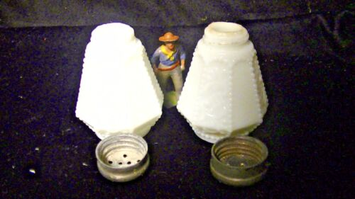 Antique EAPG Shakers, White Opaque Glass,w. 8 Beaded Floral Panels