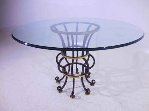 Hollywood Regency Maitland Smith Brass Wrought Iron Dinette Table/Desk