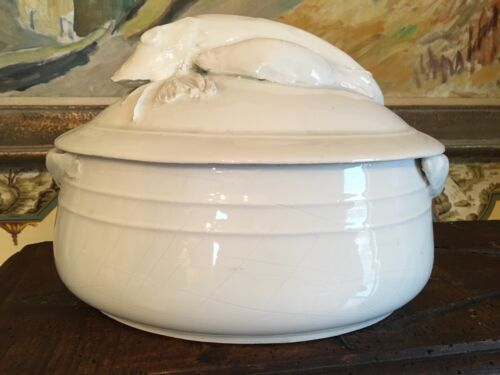 Antique French White Ironstone Covered Soup Tureen Pottery Hand Made Sardines