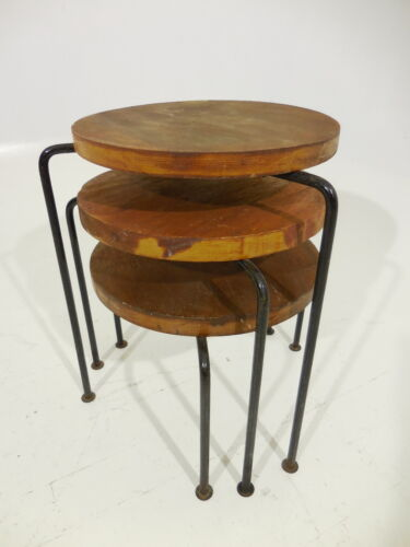 Vintage 3pc Iron Nesting Tables Mid Century Modern Luther Conover/Robin Day Era