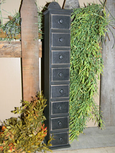 Primitive Vintage Style Black Wooden Spice Rack Box Apothecary Drawer Cabinet