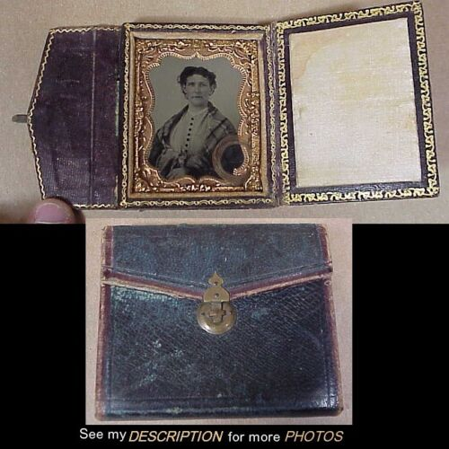 1840-50s 1/9 Plate Ambrotype Woman Lock Hair Leather Envelope Style Case