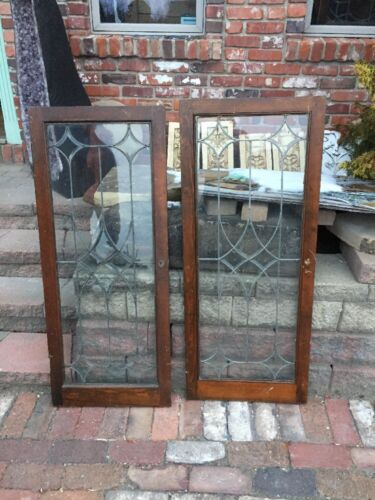 Sg 1151 Matched Pair Antique Beveled Glass Cabinet Doors