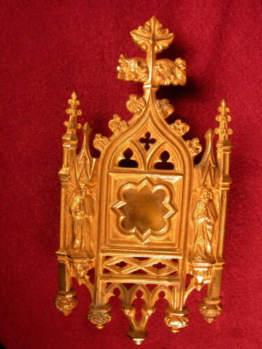 FIne 19th C Gilt-bronze RELIQUARY, frame, France, Angels, GOTHIC Tracery, Christ
