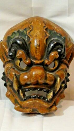 ANTIQUE JAPANESE GIGAKU LACQUERED HAND MADE CHIDO BROWN BLACK NOH DEMON MASK
