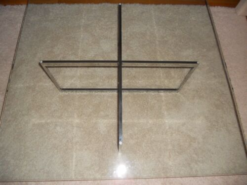 Mid century Knoll Baughman chrome & glass square coffee table architectural base