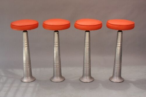 Set of 4 Mid Century Industrial Metal Swivel Bar Stools w Orange Seat (9228)