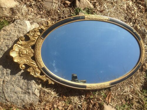 Vintage French Provincial Wall Mirror gold guild wood chalk Decor