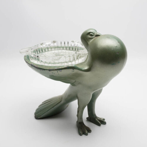 Vintage Art Deco Ashtray Pigeon Dove Bird  Metal with Glass