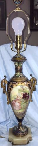 French Sevres  Paris Porcelain Table Lamp Hand Painted Signed C. Rochette