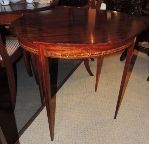 Antique Oval Occasional Side end Table round mahogany wood ribbon inlay