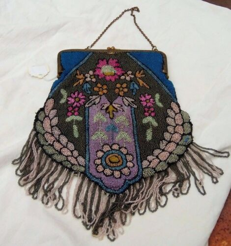 EXQUISITE ANTIQUE VICTORIAN BEADED PURSE. BELGIUM