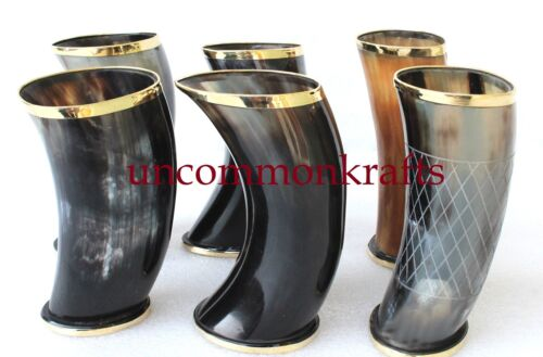 """Set of 6 handmade Viking Drinking Horn mug cups 6"""" for ale beer wine mead gift"""