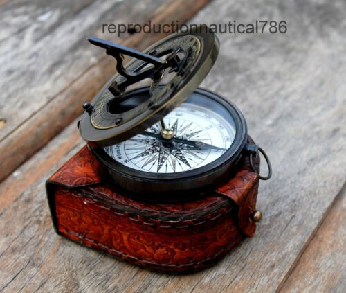 Antique Brass Working Compass With Leather Case Vintage Marine Style Compass G