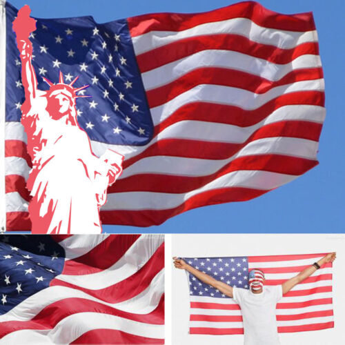 3x5ft American Usa Us Nylon Flag Sewn Stripes Unembroidered Stars Brass Grommets